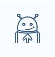 Robot with arrow up sketch icon vector image vector image