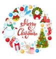 Round frame with Christmas icons vector image