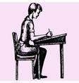 schoolboy sitting vector image vector image