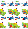 seamless pattern tile cartoon with toy planes vector image