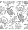 seamless pattern with turtles crabs and lobsters vector image