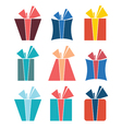 set nine colorful icons gift boxes vector image