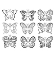Set of six black butterflies contours over white vector image