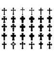 silhouettes different crosses vector image