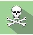 skull with flat style and long shadow vector image vector image