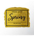 spring sale background on gold sparkle background vector image vector image