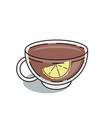 thin line icon of burning black tea cup with slice vector image