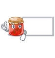 thumbs up with board character homemade strawberry vector image
