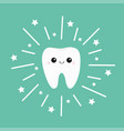 tooth icon smiling face shining effect stars cute vector image