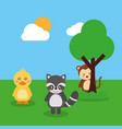 two cute animals duck raccoon and monkey tree sky vector image