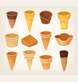 variations of waffle cups and cones for ice cream vector image vector image