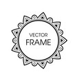 vintage grayscale round frame in a line style vector image vector image