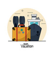 white background of enjoy vacation with fins and vector image vector image