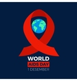 World aids day icon Earth sphere with the red vector image