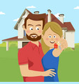 young couple holding keys of their new house vector image