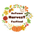 autumn harvest festival poster design fall wreath vector image