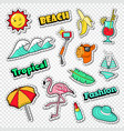 beach vacation stickers tropical holidays doodle vector image