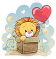 birthday card with a cute lion vector image vector image