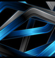 blue black glossy stripes abstract technology vector image vector image