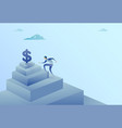 business man climbing stairs to dollar sign vector image vector image