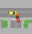 car crash road accident vector image vector image