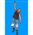 cartoon man hangs on a crossbeam on one hand vector image vector image