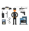cartoon set of police attributes officer gun vector image vector image