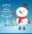 cartoon snowman greeting card vector image