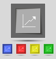 Chart icon sign on original five colored buttons vector image vector image