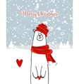 Christmas card with white santa bear vector image vector image