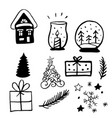 christmas new year design elements vector image vector image