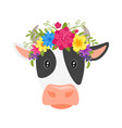 cow head with floral wreath vector image vector image