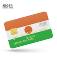 Credit card with Niger flag background for bank vector image vector image