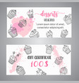 cupcake gift certificate with handdrawn cupcakes vector image vector image