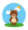 cute animal baby bear standing in field clouds and vector image vector image