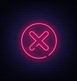Delete icon - neon sign close symbol