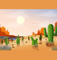 desert landscape with cactus vector image
