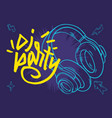 dj party poster design with a headphones and hand vector image vector image