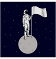flat design astronaut stand on moon with a vector image vector image