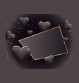 frame with black hearts vector image vector image