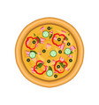 freshly baked pizza with salami cucumber ham vector image vector image