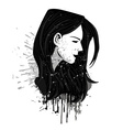 Grunge girl head vector image vector image