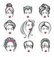 hand drawn hair style set vector image vector image
