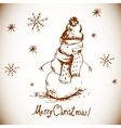 Hand-drawn vintage greeting card with snowman vector image vector image