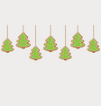 hanging gingerbread christmas trees cookies vector image vector image