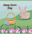 happy easter day card with cute rabbit and vector image vector image