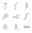 hard worker icons set outline style vector image