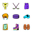 hockey stadium icons set cartoon style vector image vector image