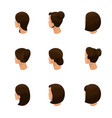 isometric set 3d womens hairstyles vector image vector image