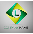 L letter colorful logo in the rhombus template for vector image